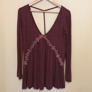 POL embroidered long sleeve tunic dress maroon red